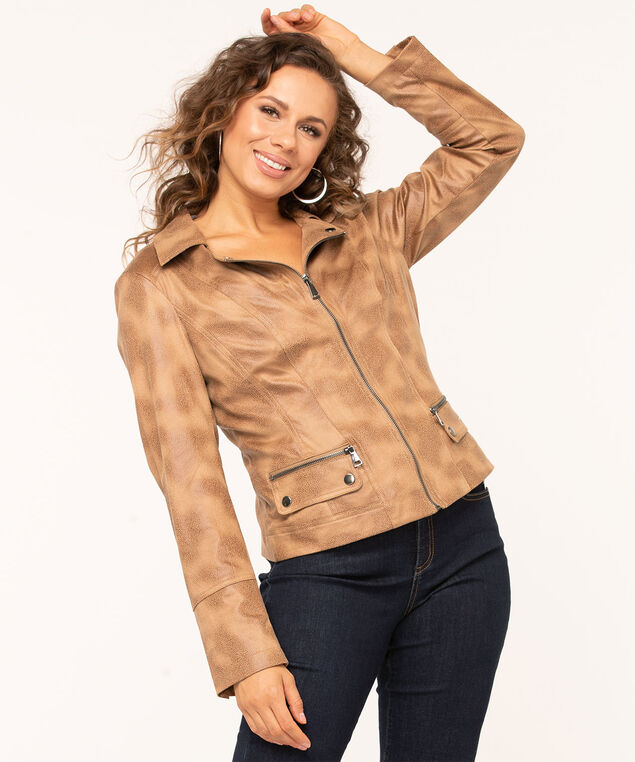 Faux Suede Textured Moto Jacket, Camel