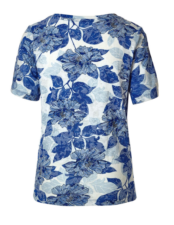 Blue Floral Burnout Tee, Blue/White, hi-res