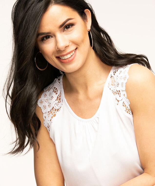 Sleeveless Lace Trim Knit Top, White