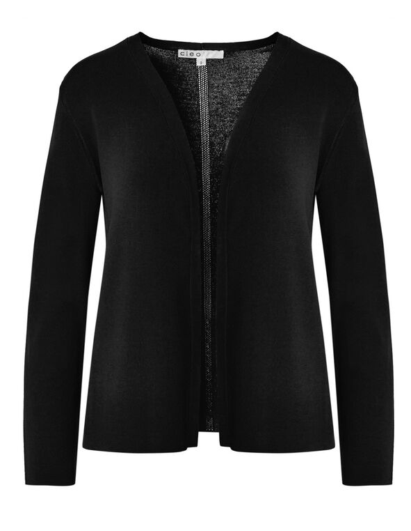 Black Crepe Cardigan, Black, hi-res