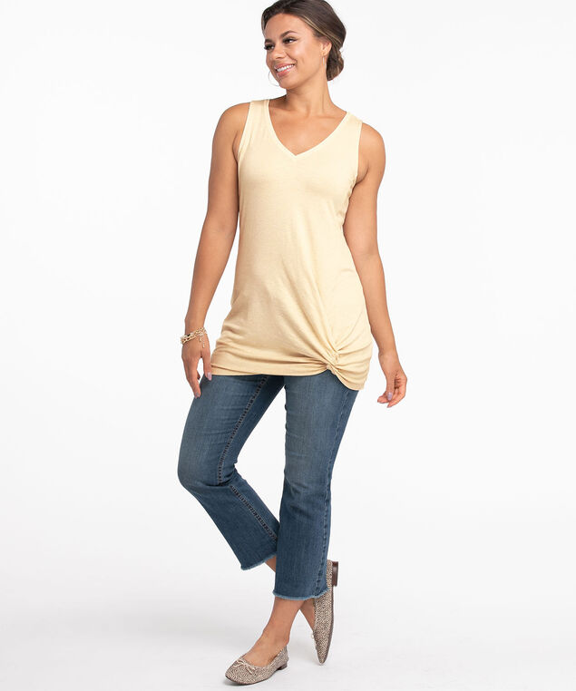 Shimmery Knotted Tunic Top, Oatmeal Shimmer