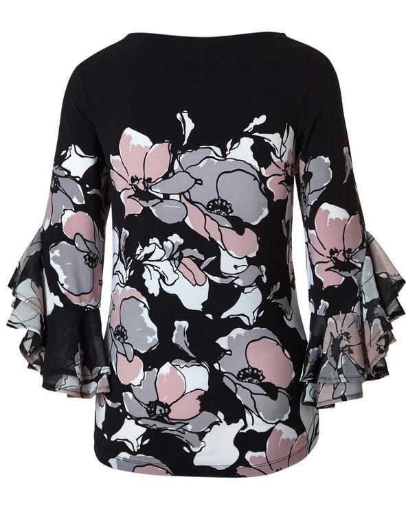Black Floral Bell Sleeve Top, Black/Ballet, hi-res