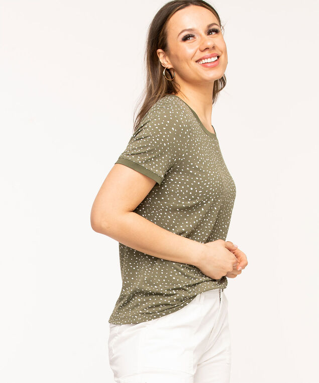 Short Sleeve Back Button Top, Green Pa