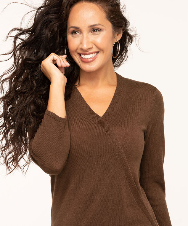 Brown V-Neck Wrap Front Sweater, Brown, hi-res