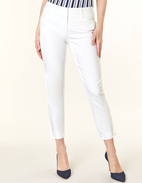 White Slim Leg Ankle Pant, White, hi-res