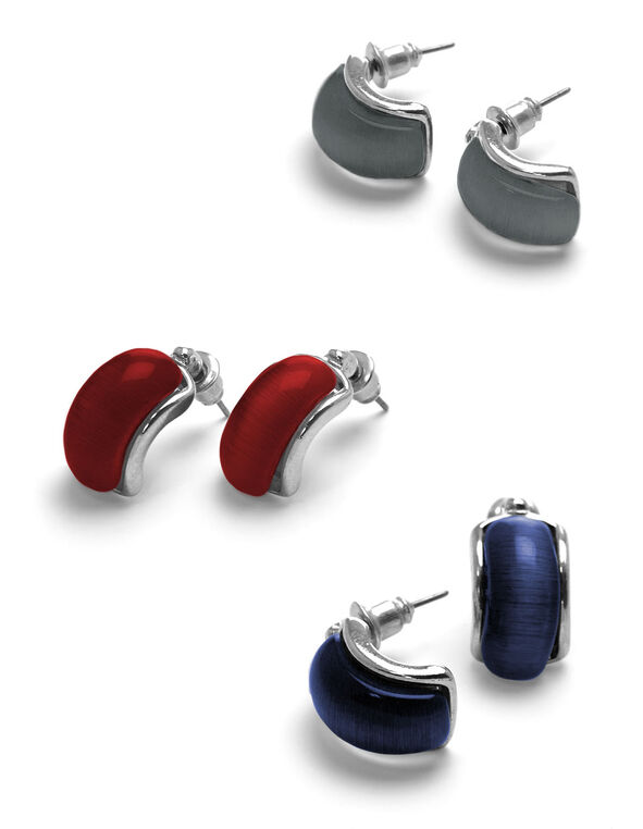 Cat Eye Trio Earring Set, Red/Silver/Blue, hi-res