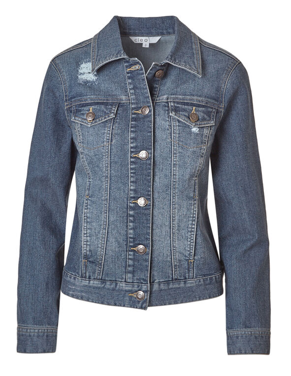 Mid Wash Distressed Denim Jacket, Mid Wash, hi-res