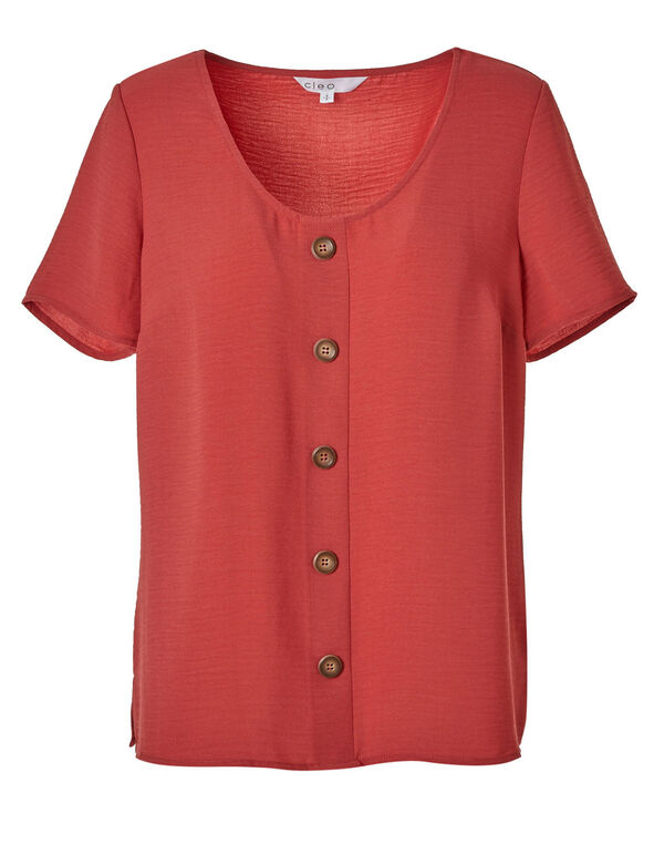 Grapefruit Wood Button Blouse, Grapefruit, hi-res