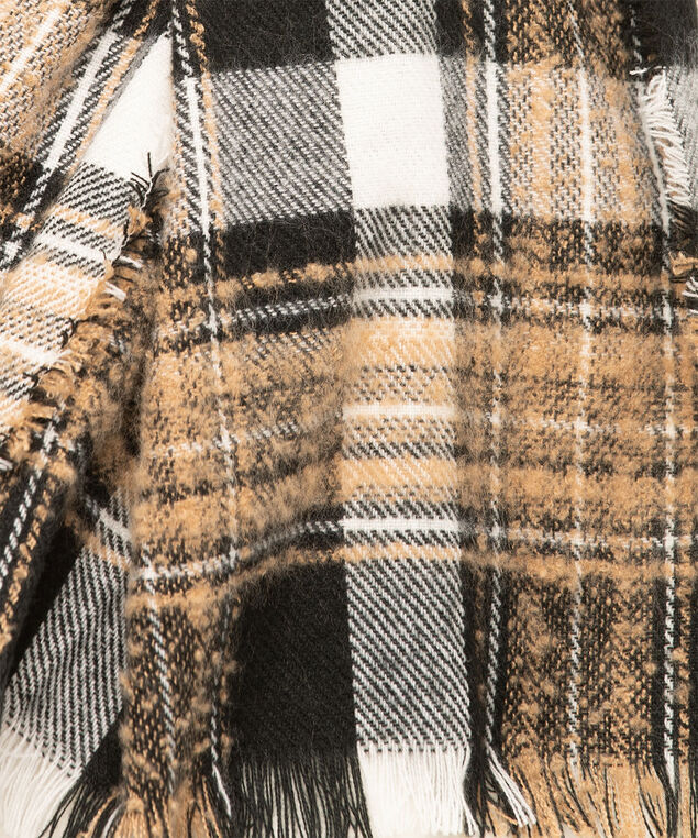 Plaid Bouclé Oblong Scarf, Camel/Black/Ivory, hi-res