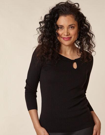 Black Knot Front Sweater, Black, hi-res
