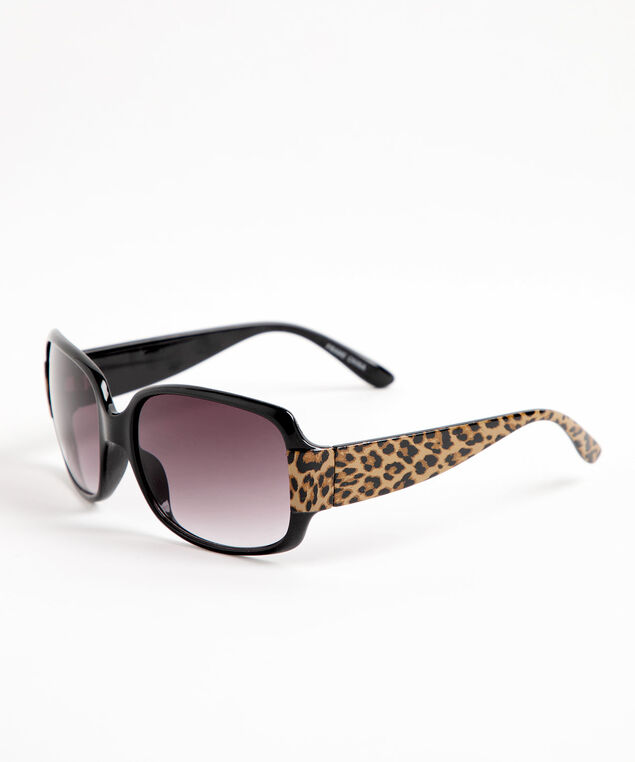 Leopard Print Rectangular Sunglasses, Black/Camel