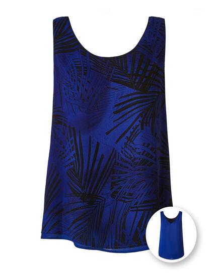 Blue Palm Reversible Neck Blouse, Blue/Black, hi-res