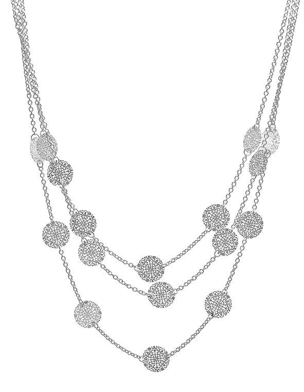 Short Silver Filigree Necklace, Silver, hi-res