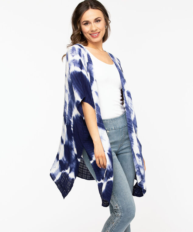 Navy Tie-Dye Kimono, Navy Tie-Dye