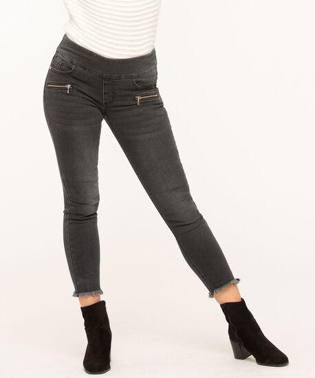 Grey Slim Zipper Pocket Jeans, Grey, hi-res