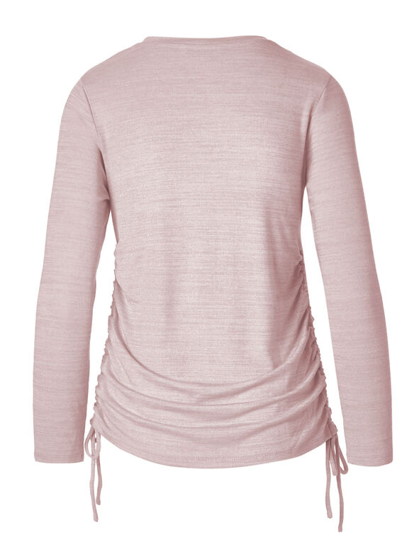 Pink Hacchi Side Ruched Top, Pink, hi-res