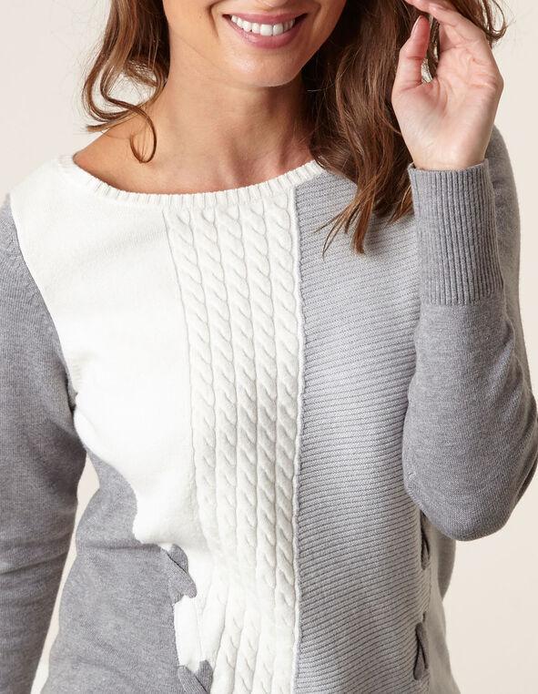 Grey Mixed Knit Sweater, Grey, hi-res