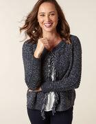 Navy Short Fringe Sweater Coat, Navy, hi-res