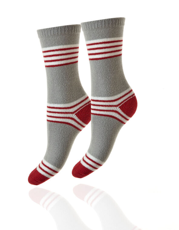 2 Pair Winter Red and Grey Plush Sock, Red, hi-res