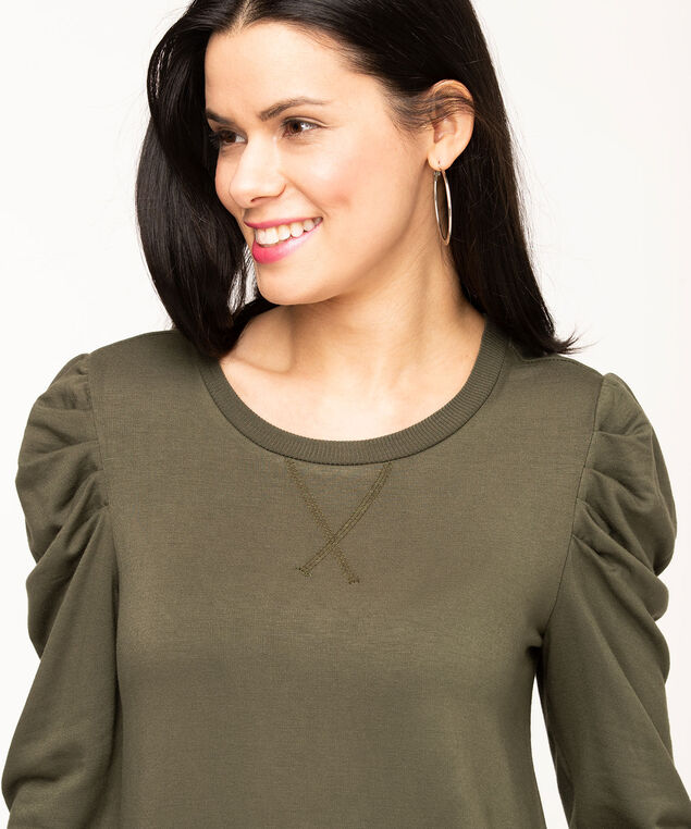 Olive Puff Sleeve Tunic Dress, Olive