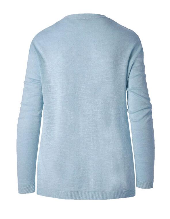 Blue Slub Button Front Cardigan, Light Blue, hi-res