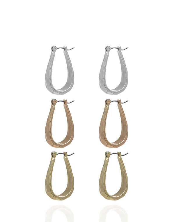 Hammered Earring Trio Set, Rose Gold/Silver/Gold, hi-res
