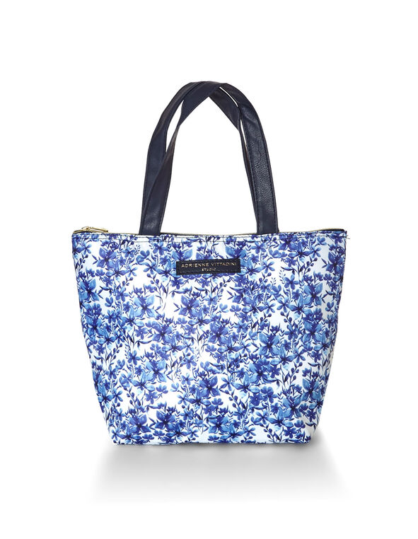 Blue Floral Lunch Tote, Blue, hi-res