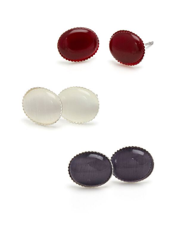 Coloured Cat Eye Earring Trio Set, Purple/Red/White, hi-res