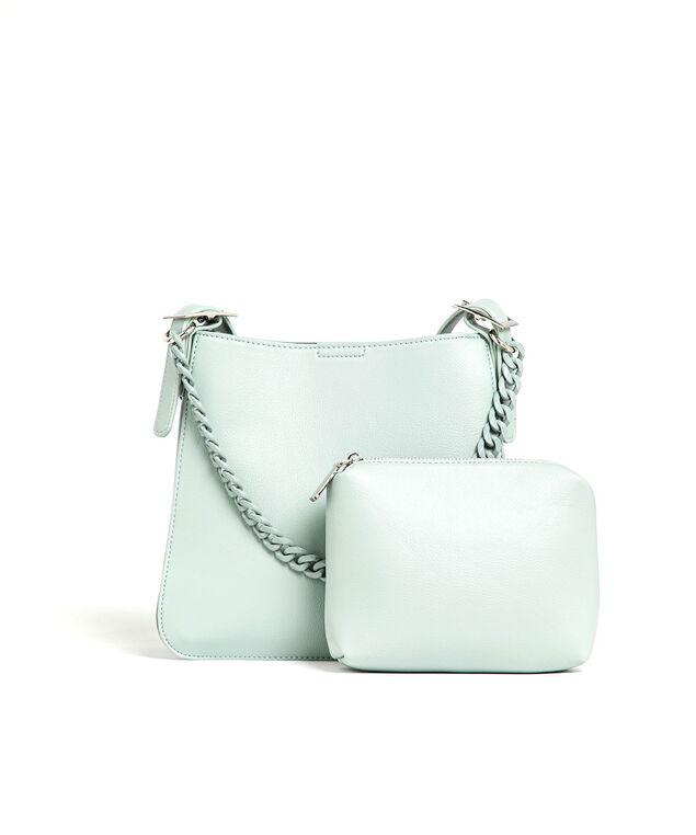 Light Blue Chainlink Handle Handbag, Light Blue