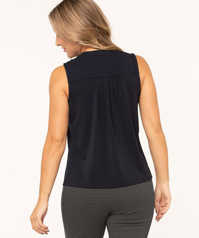 Navy Sleeveless Hidden Button Top, Navy