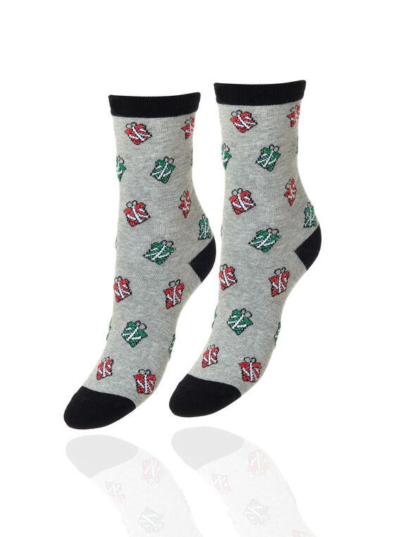 Christmas Presents Socks, Grey, hi-res