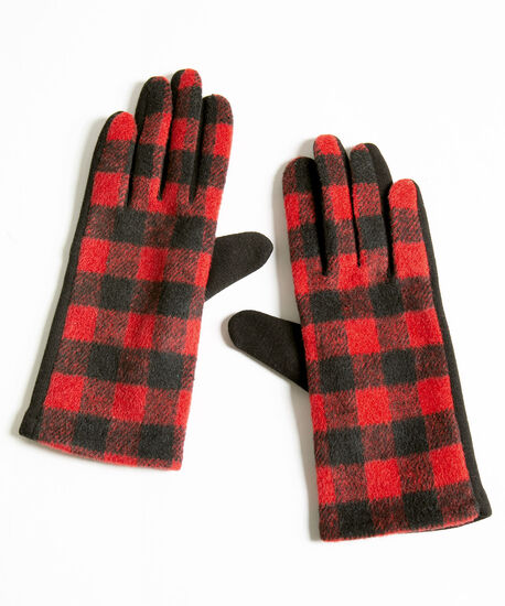 Red Buffalo Check Gloves, Red/Black, hi-res
