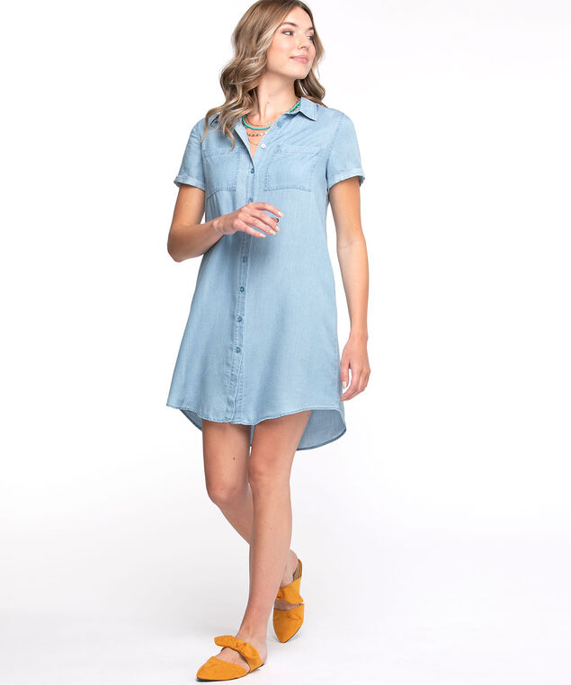 Tencel A-Line Button Front Dress, Chambray
