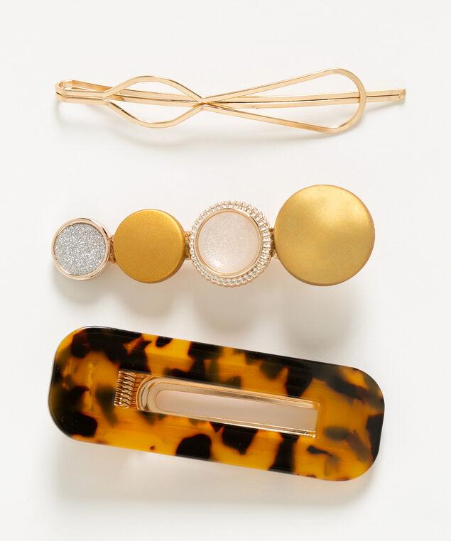 Brushed Gold Hair Clip Set, Gold/Brown, hi-res