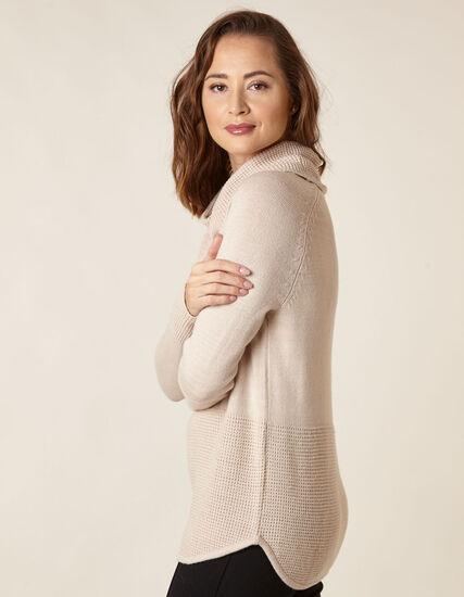 Oat Cowl Neck Sweater, Tan, hi-res