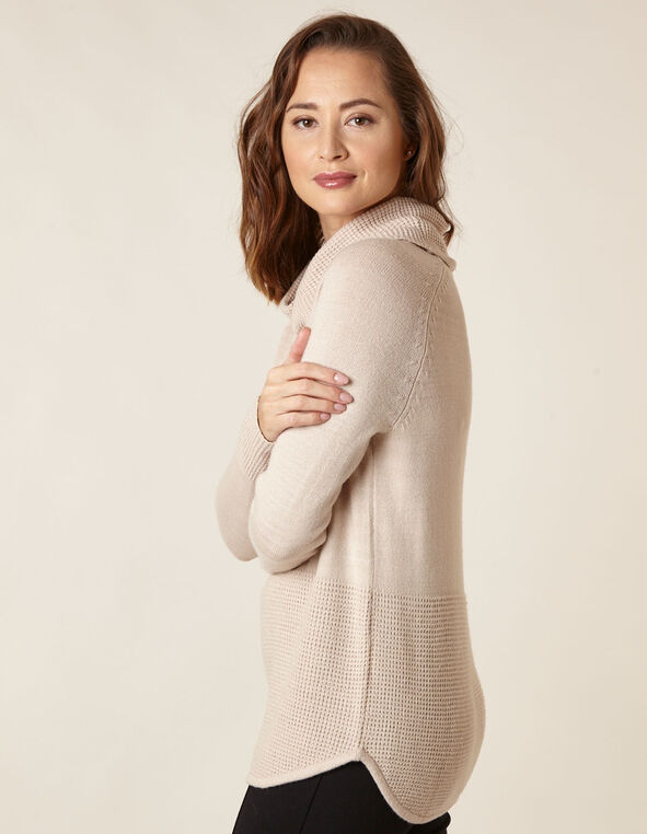 Oat Cowl Neck Sweater, Tan, hi-res