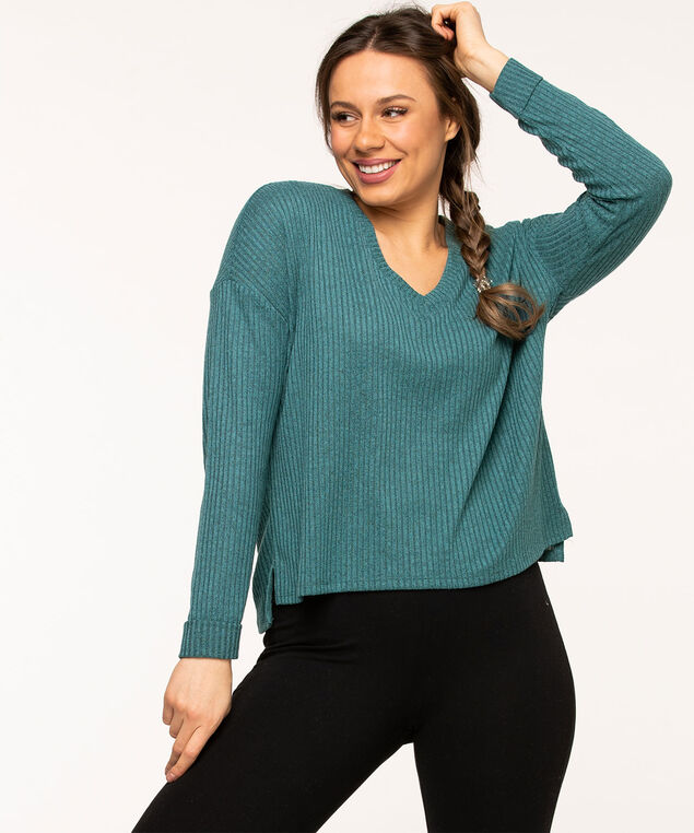Teal Lightweight Knit V-Neck Top, Teal