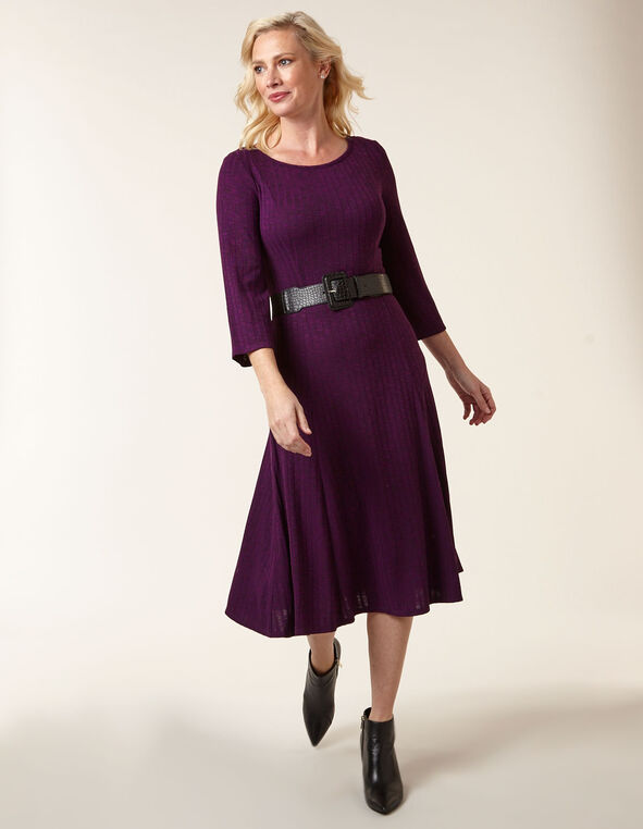 Purple Hacchi Fit & Flare Dress, Purple, hi-res