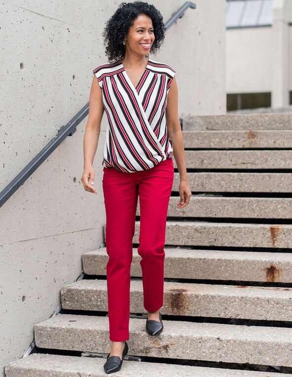 Red Striped Wrap Front Blouse, Red/White, hi-res