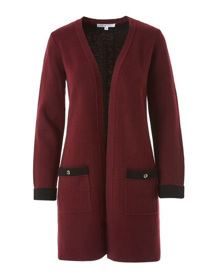 Merlot Double Knit Sweater Coat, Merlot, hi-res