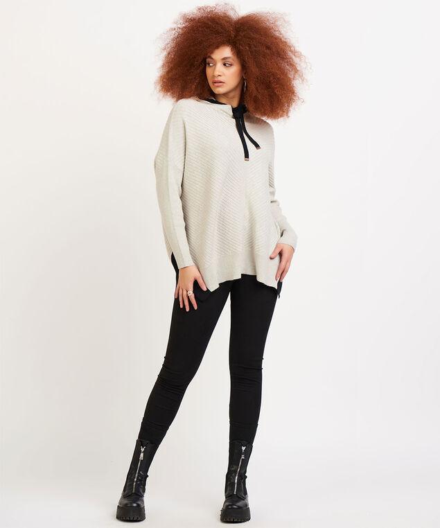 Dex Hooded Long Sleeve Sweater, Soft Oak Heat/Black