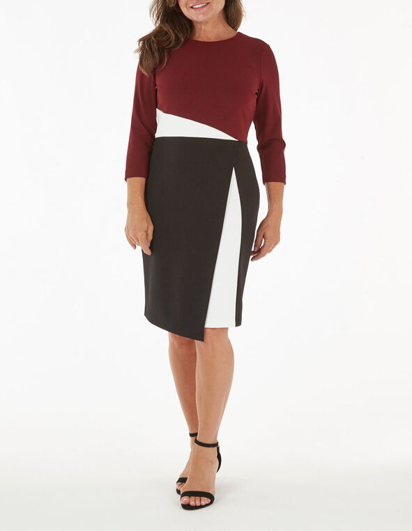 Merlot Colour Block Sheath Dress, Wine, hi-res