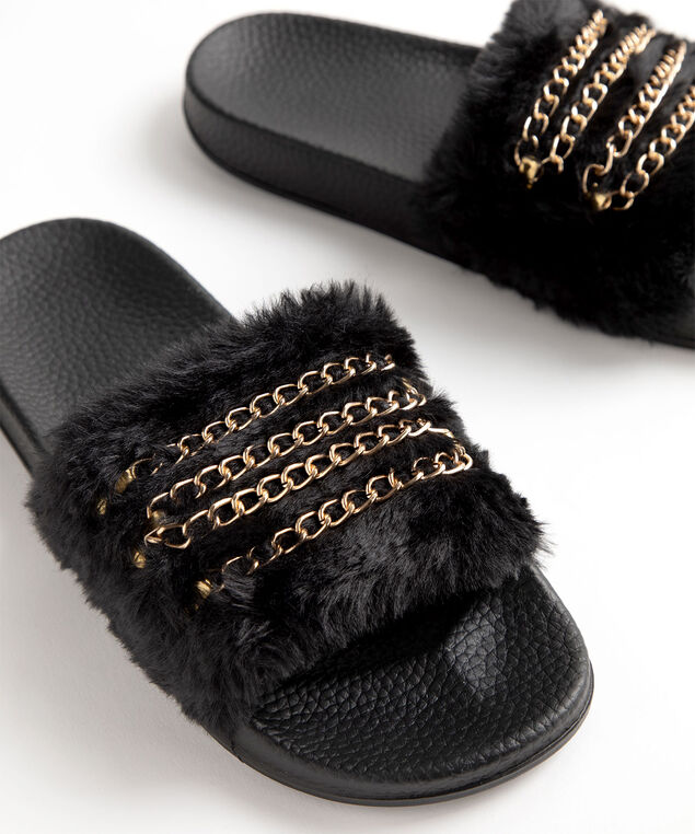 Faux Fur Chain Slipper, Black