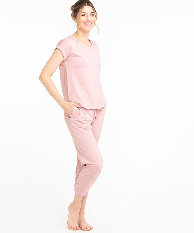 French Terry Short Sleeve Tee, Soft Pink Melange