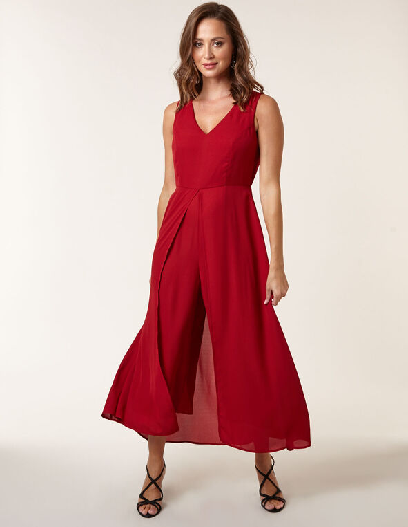 Ruby Chiffon Detail Jumpsuit, Ruby, hi-res