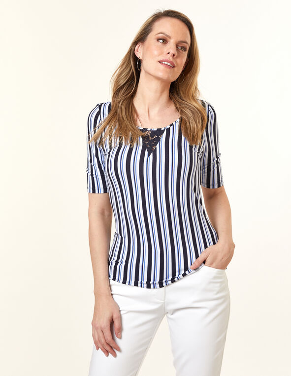 Lace Keyhole Top, Stripe, hi-res