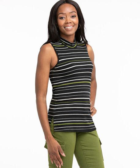 Ribbed Mock Neck Top, Black/Pesto/Ivory Stripe, hi-res