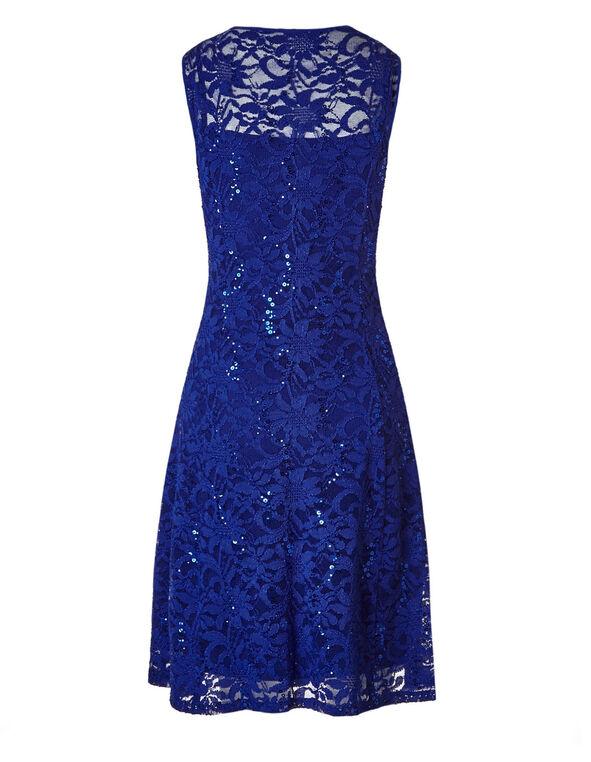 Cobalt Lace Sequin Dress, Cobalt, hi-res