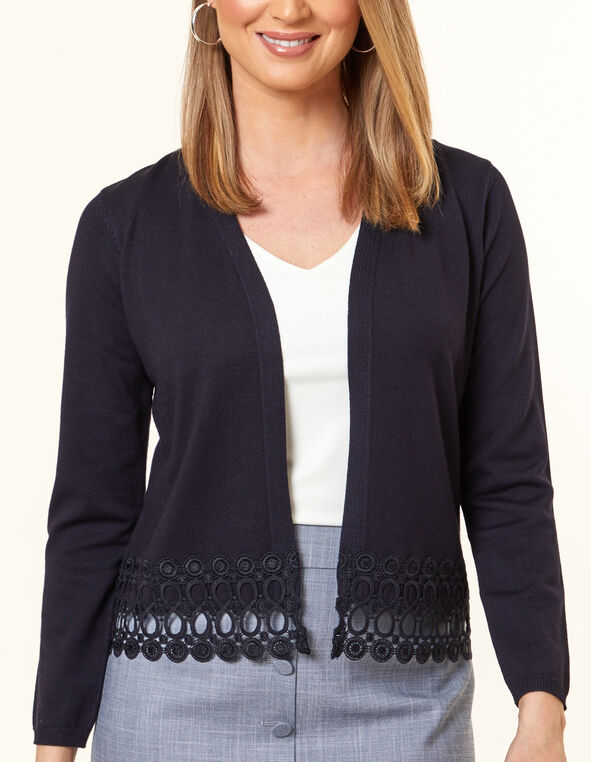 Navy Crochet Cardigan, Navy, hi-res