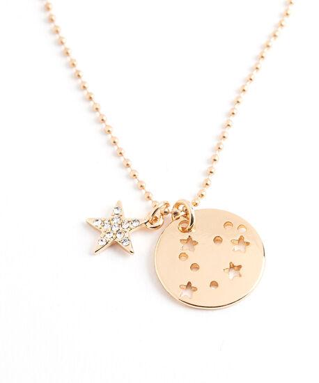 Gold Zodiac Disc Pendant Necklace, Gemini, hi-res